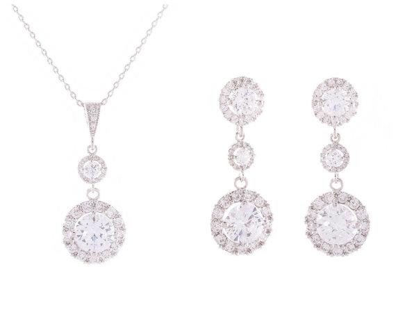 Mariage - Crystal Wedding Jewelry, Bridal Jewelry SET, Bridesmaid Jewelry,  Crystal necklace, Crystal Earrings , Cz jewelry set, Bridesmaid Jewelry