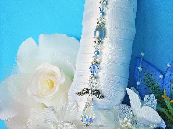 زفاف - Something Blue Wedding Angel Bouquet Charm Swarovski Crystal and Pearl Bridal Bouquet
