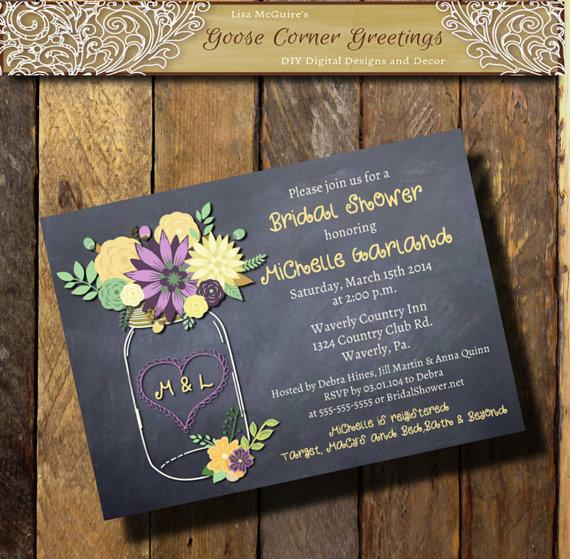Chalkboard Mason Jar Bridal Shower Invitation Floral Rustic Wedding Shower Purple Cream Mint