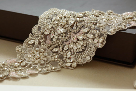 Mariage - Bridal belts and sash in light pink and silver - Viola Pink 28 inches (Made to Order)