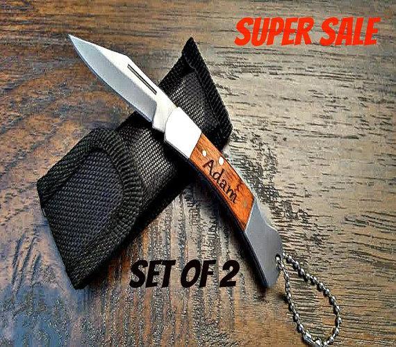 Hochzeit - Personalized Groomsmen gifts Set of 2 Mini Pocket Knives Groomsman Gift Custom Engraved Knife Engraved Knives Best Man Gift.