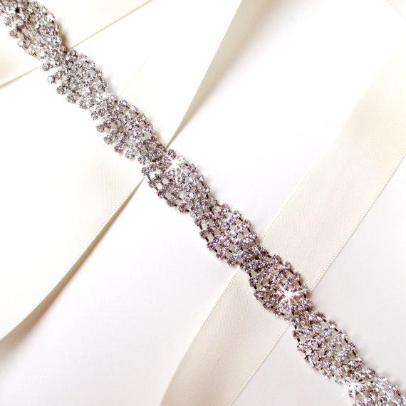 Wedding - Twisted Rhinestone Bridal Belt Sash or Headband - Custom Ribbon White Ivory Silver - Crystal Wedding Dress Belt - Extra Long