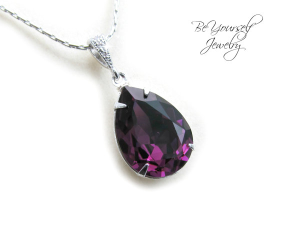 Свадьба - Purple Necklace Swarovski Crystal Teardrop Amethyst Necklace Wedding Jewelry Bridesmaid Gift Plum Dark Purple February Birthstone