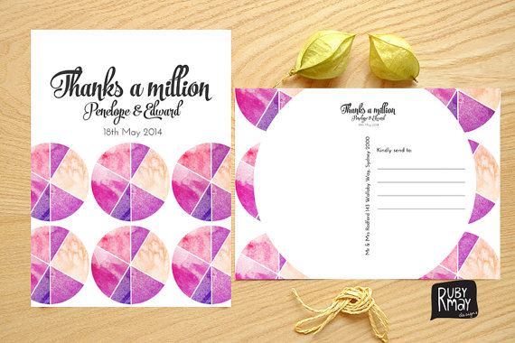 watercolour wedding thank you cards geometric thank you postcard