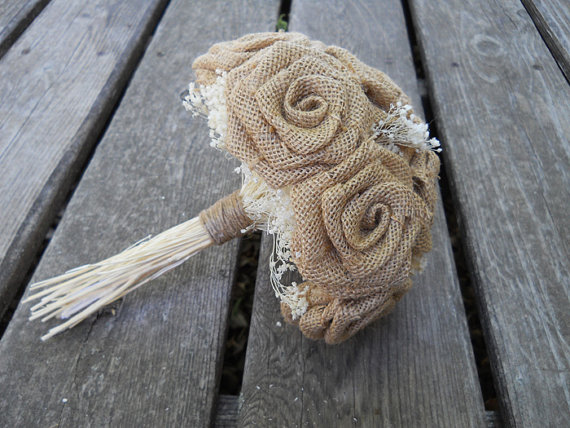 "Hochzeit - Small 6"" Burlap Bridesmaid Bouquet. Made to order."