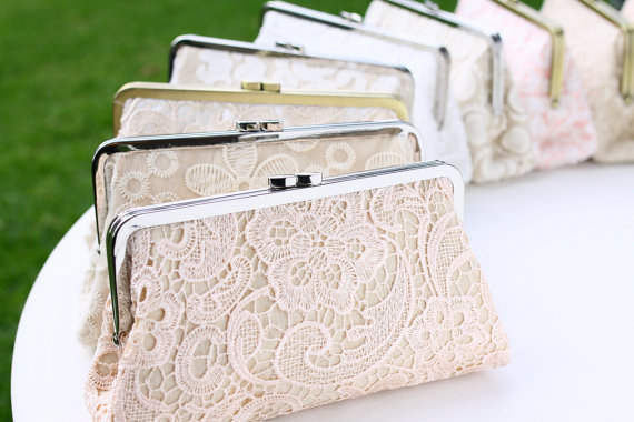 Hochzeit - Lace Clutches Bridal Clutches / Personalised Bridesmaid Clutches / Wedding Gift - Set of 5
