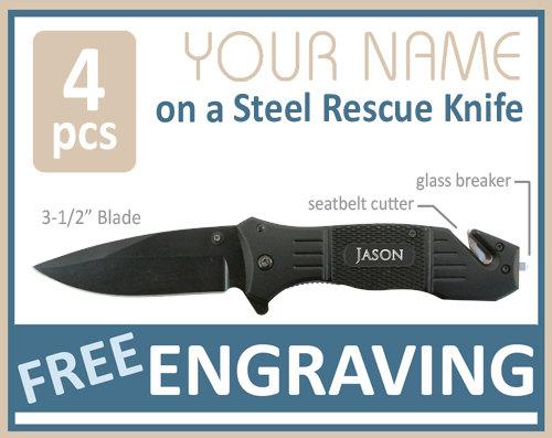 Hochzeit - Groomsmen Gifts 4 PERSONALIZED Knives Engraved Knife Custom Knife Engraved Pocket Rescue Knife Hunting Knife Groomsman Gifts Gift for Men