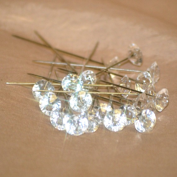 Hochzeit - 100 gem head pins for corsages, bridal, wedding Free Shipping within US