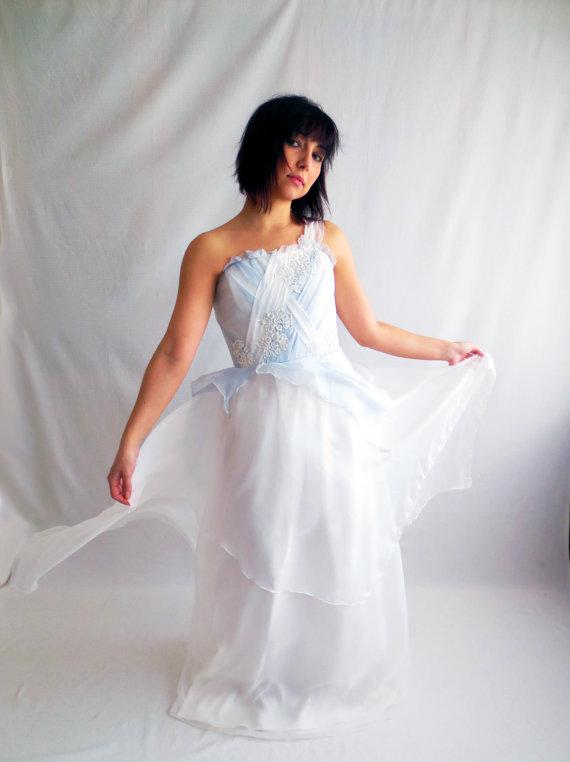 Light blue wedding dress silk wedding dress fairy wedding for Blue beach wedding dresses