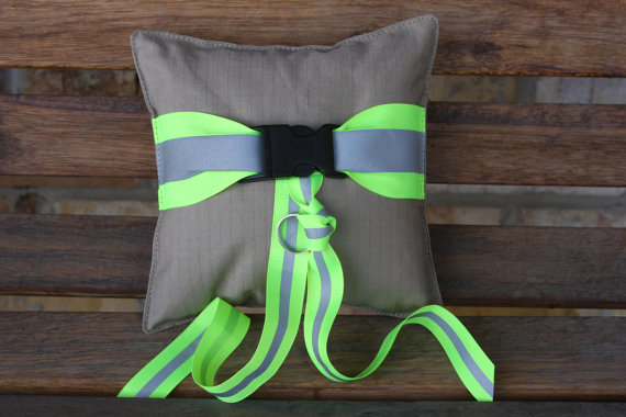 firefighter wedding ring pillow looks like turnout bunker gear with reflective - Firefighter Wedding Rings