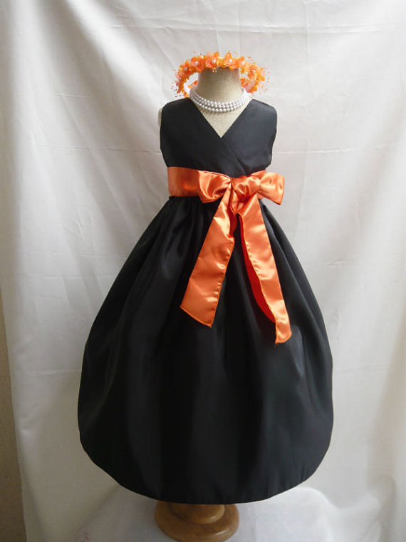 Hochzeit - Flower Girl Dress - Black V-Neck Dress with Orange - Wedding, Easter, Junior Bridesmaid, Formal Girl Dress, Recital (FGVN)