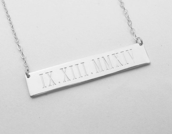 Roman Numeral Bar Necklace Wedding Date Bar NecklaceEngraved