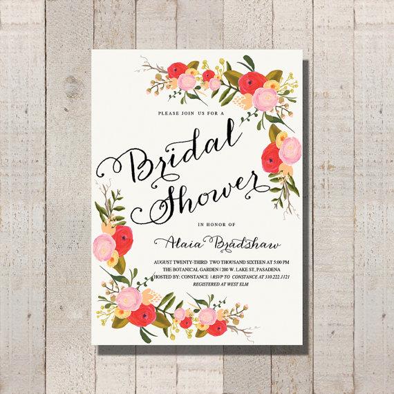 Wedding - Bridal Shower Ivory Invitation Vintage Inspired Floral Printable Wedding Invite