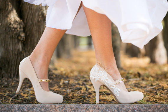 wedding heels nude mary jane heels nude bridal shoes nude wedding shoes with ivory lace us size 75