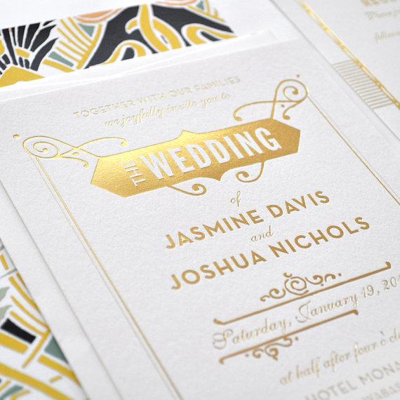 gold foil wedding invitation gatsby wedding invitation art deco