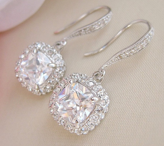 Square Bridal Earrings Wedding Crystal Jewelry Cushion Cut Dangle