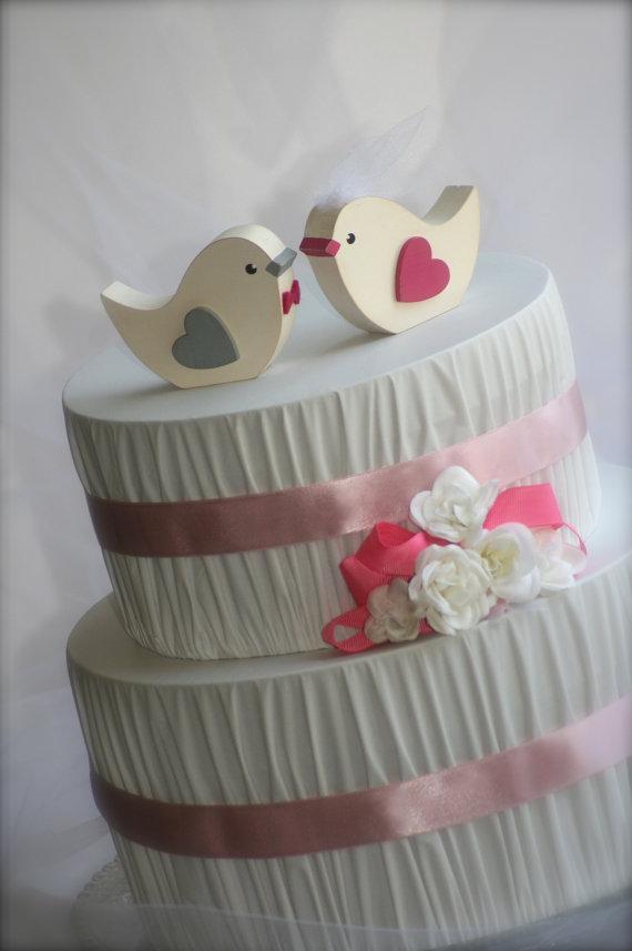 Hochzeit - Love Birds Wedding Cake Topper Rustic Wedding Bird Woodland Wedding