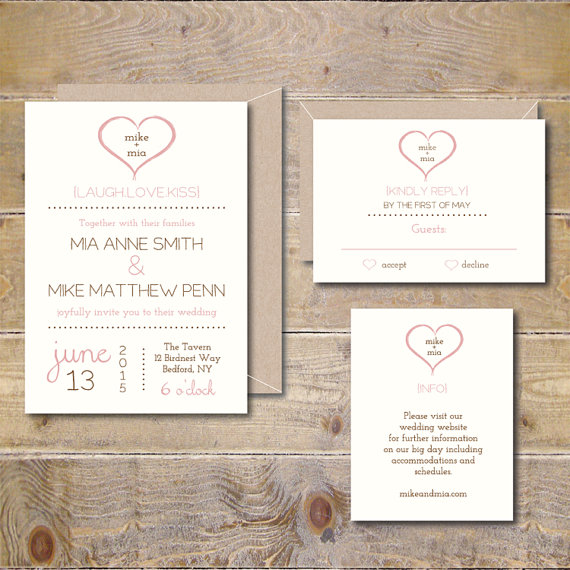 Printable Wedding Invitations . Wedding Invitation Template . Wedding  Invites . Heart Invitation . PDF Invitation . Modern   You U0026 Me