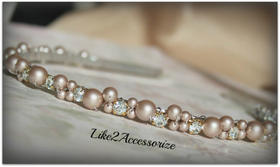 Light champagne brown swarovski pearl headband bridal for Jewelry for champagne wedding dress