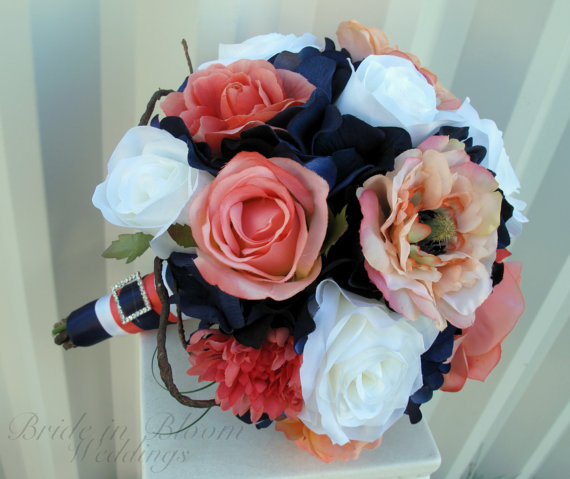 Mariage - Wedding bouquet coral navy white rose bridal bouquets