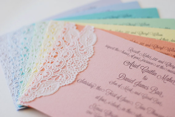 Boda - Custom Pastel and Lace Doily Invitations - Shabby Chic - Handmade - Wedding - Baby or Bridal Shower  - Engagement Party