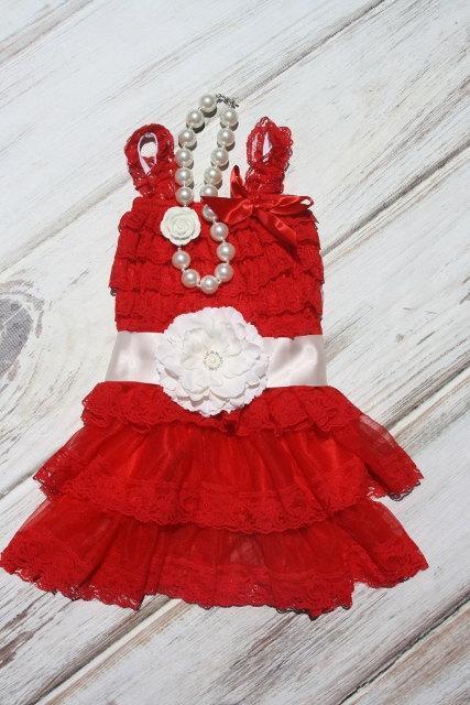 Hochzeit - Girls Chiffon Dress- Red Flower Girl Dresses- Christmas Dress- Lace dress- Rustic Girls Dress- Baby Lace Dress- Junior Bridesmaid