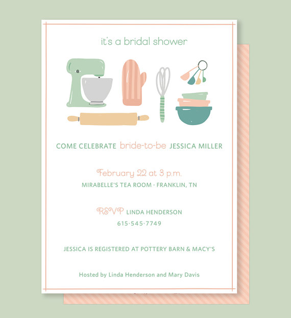 kitchen bridal shower invitation with vintage kitchen mixer for wedding shower