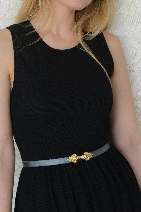 Mariage - Vintage Style Gray Waist Belt - Gold Buckle - Gray Belt - Wedding Accessory - Bridal Accessory - Stretch Belt - Sash Belt -Gold Belt