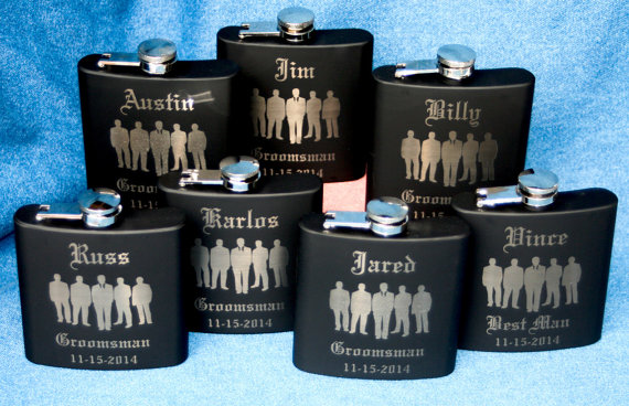 Wedding - Set of 7 Engraved Groomsmen Wedding Flasks, 6oz Stainless Steel Personalized Hip Flask with choice of 9 Colors, You can add any Design