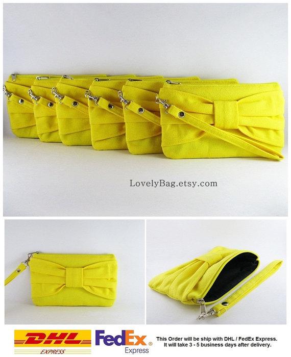 زفاف - SUPER SALE - Set of 6 Yellow Bow Clutches - Bridal Clutch,Bridesmaid Clutch,Bridesmaid Wristlet,Wedding Gift,Zipper Pouch - Made To Order