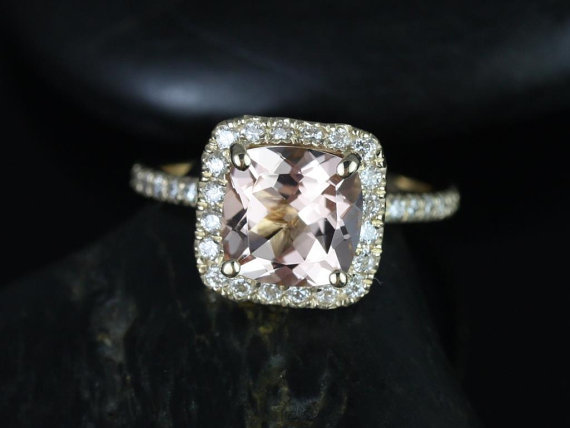 Mariage - Pernella 8mm 14kt Yellow Gold Cushion Morganite and Diamonds Halo Engagement Ring (Other metals and stone options available)