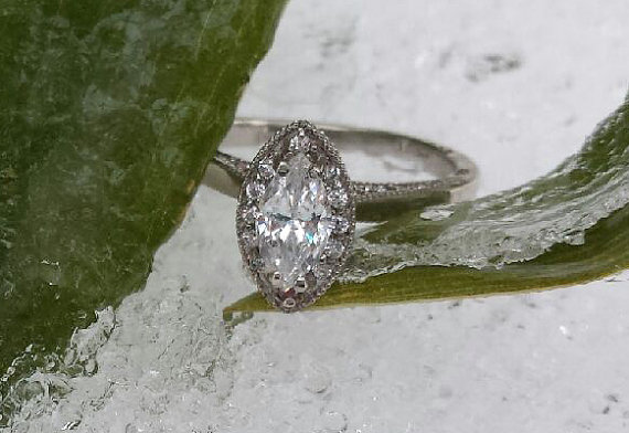 Vintage Style Halo Marquise Engagement Ring Set In Silver With Cubic Zirconia 1 Carat Total Weight