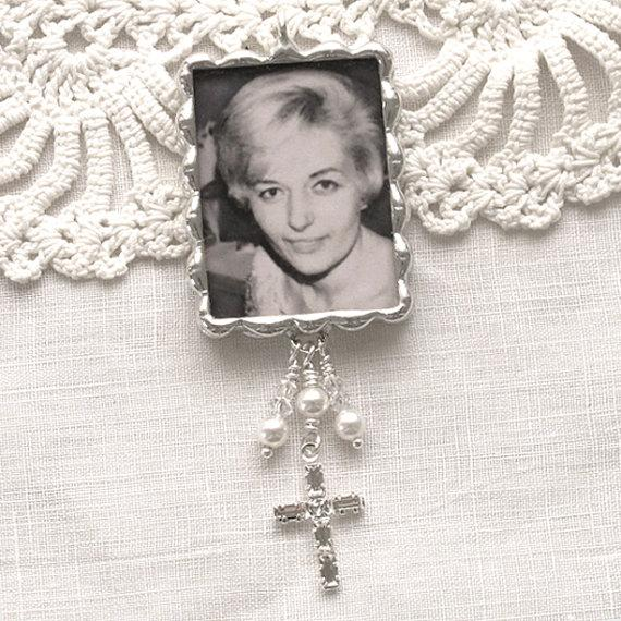 Mariage - Photo & Quote Bouquet Charm with Rhinestone Cross, Crystals and Pearls