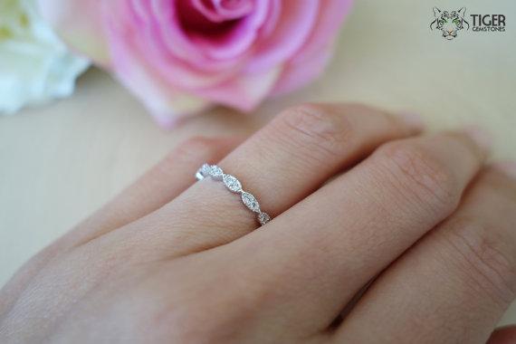 Свадьба - Art Deco Wedding Band, Engagement Ring, Man Made Diamond Simulants, Bridal, Anniversary, Promise Ring, Sterling Silver, Stacking, Layering,