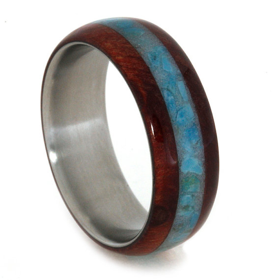 Mariage - Turquoise Jewelry, Titanium and Ruby Redwood Wedding Band, Waterproof Ring Armor Included
