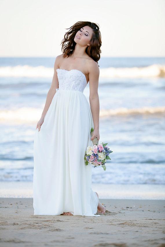 Wedding Dress Bohemian Romantic Long Bustier Wedding Gown Chiffon ...