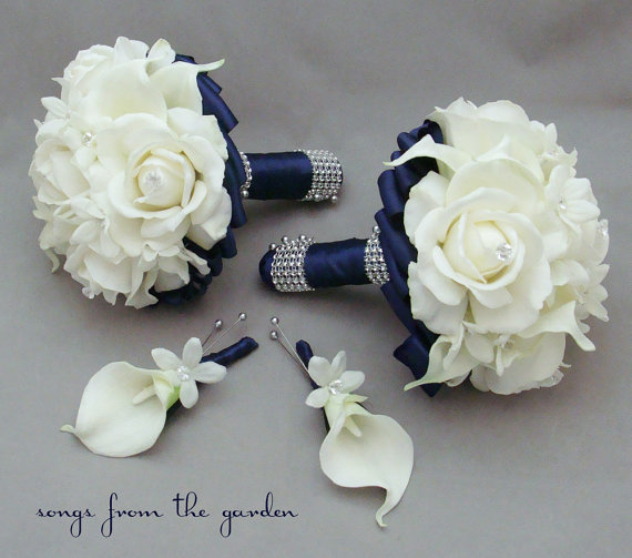 Navy Blue And White Wedding Bouquets : Navy wedding flower package bridesmaid bouquets groomsman
