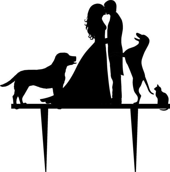 Hochzeit - Wedding Cake Topper Silhouette Groom and Bride, Acrylic Cake Topper