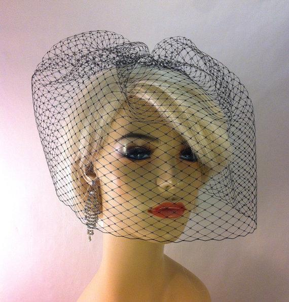 """زفاف - Ivory, White, Black 11"""" Full Birdcage Veil on Comb, Bridal Veil, Wedding Veil"""