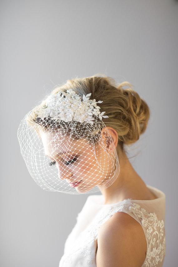 Mariage - Birdcage Veil, 9 Inch Birdcage Veil, Wedding Veil, Lace Birdcage Veil, Vintage Style Birdcage Veil