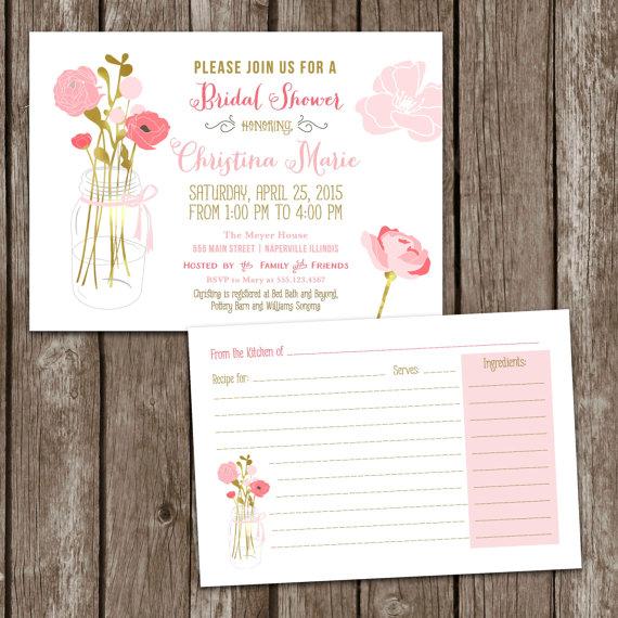 digital printable mason jar bridal shower invitations recipe card bridal party invite bridal shower wedding mason jar invite