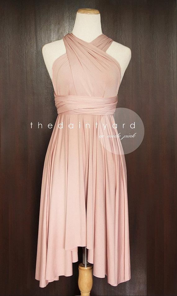Hochzeit - Nude Pink Bridesmaid Convertible Dress Infinity Dress Multiway Dress Wrap Dress Wedding Dress