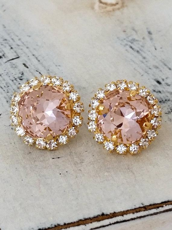 زفاف - Blush Pink crystal stud earrings, Blush stud earrings, Bridal earrings, Swarovski halo stud earring, Bridesmaid jewelry, gold or silver