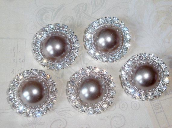زفاف - 5 pcs - 20mm Silver Metal CHARCOAL Grey Pearl (no.46) Crystal Rhinestone Buttons Embellishments w/ shank - wedding / hair / Flower Center