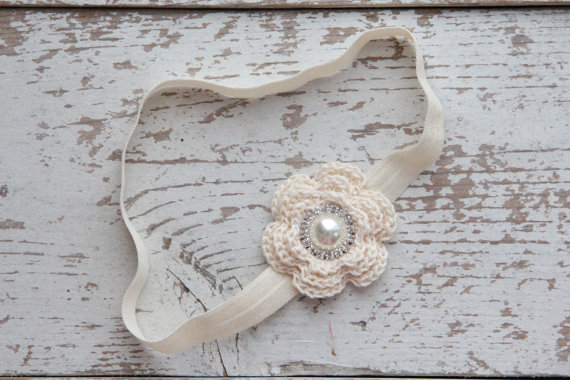 Mariage - Ivory Crochet Flower Headband, Baby Headband, Great For Any Occasion, Crochet Flower With Rhinestone!!!