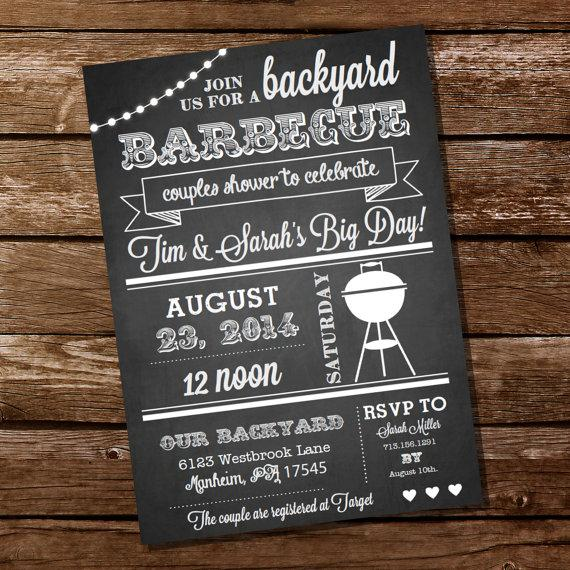 chalkboard couples shower bbq invitation couples shower bbq i do