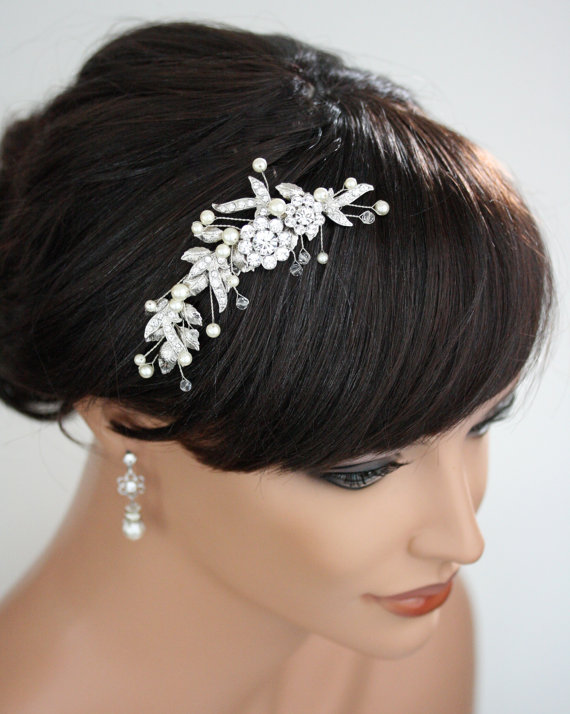 Hochzeit - Bridal Hair Comb Wedding Hairpiece Leaf Comb White Ivory Pearl Beads Hair combs Vintage style Wedding Hair Accessories MIER HAIR PIECE