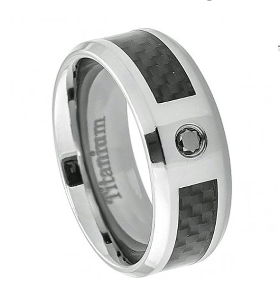 Titanium Bands The Jewelry Source 8 mm Titanium Rings w//Carbon Fiber Mens Rings