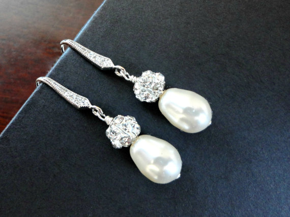Teardrop Pearl Earrings Rhinestone And Dangle Wedding Jewelry Bridal Drop Bridesmaid