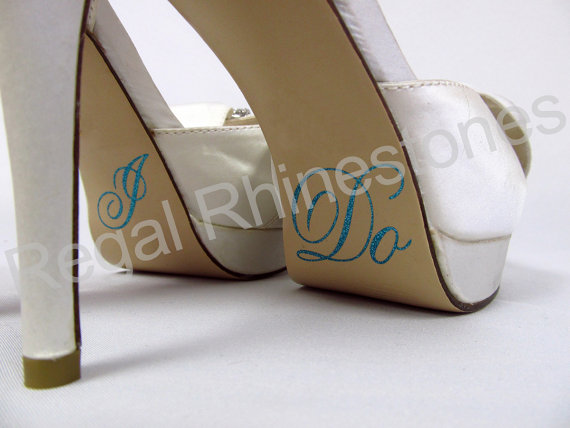Mariage - Hologram I Do Shoe Stickers - TIFFANY BLUE Glitter I Do Applique for Shoes - Wedding Shoe Stickers - I Do Decals
